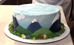 Custom Fondant Mountain Scene Cake from The Able Baker
